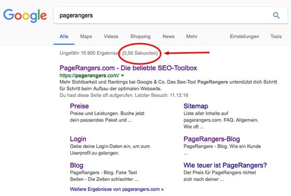 Pagespeed bei Google
