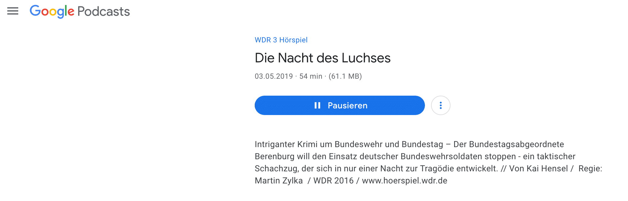 Google Podcast in SERPS