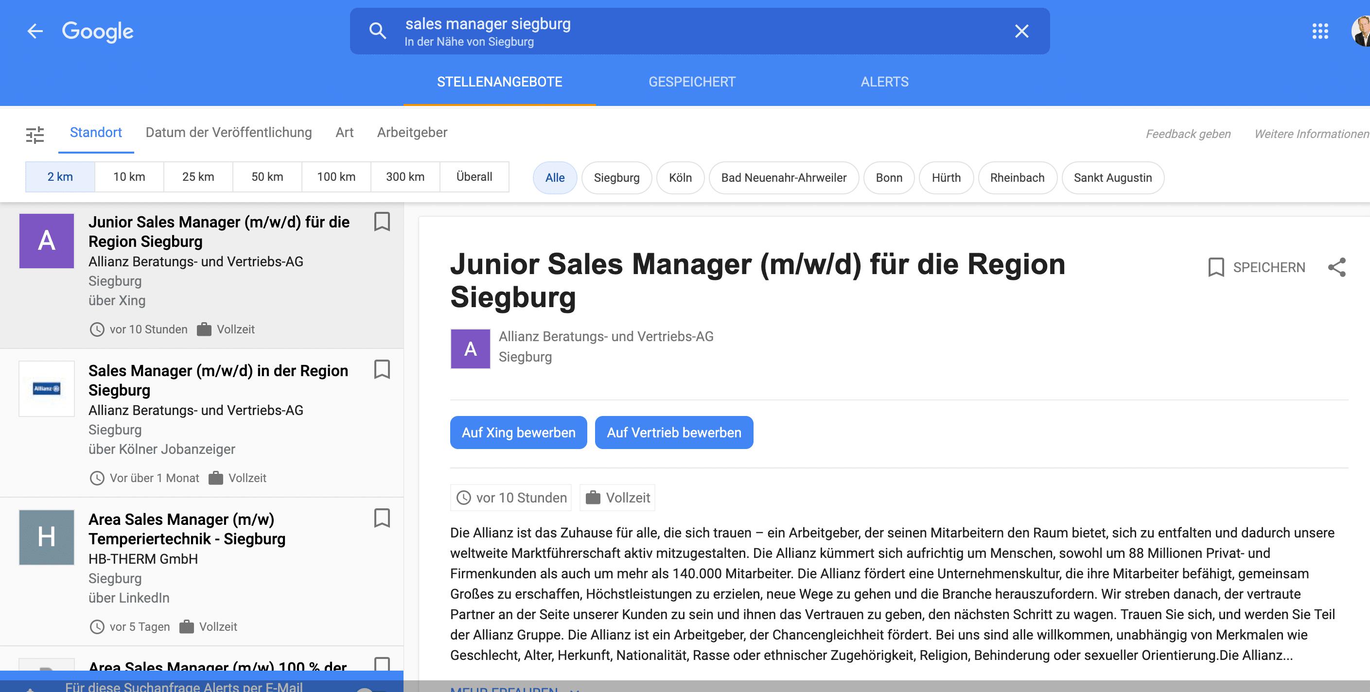 Google Jobs Detail-Anzeige