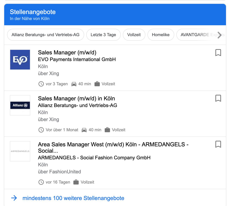 Google Job Anzeige
