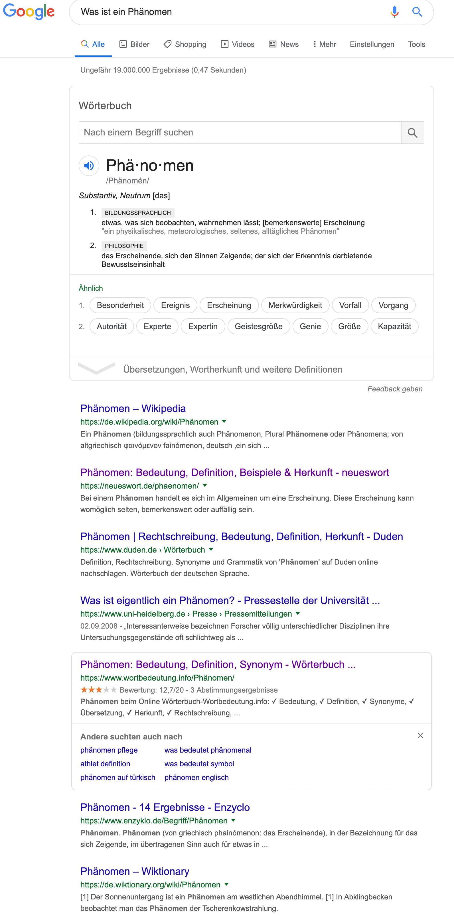 Suchintemntion eines Nutzers