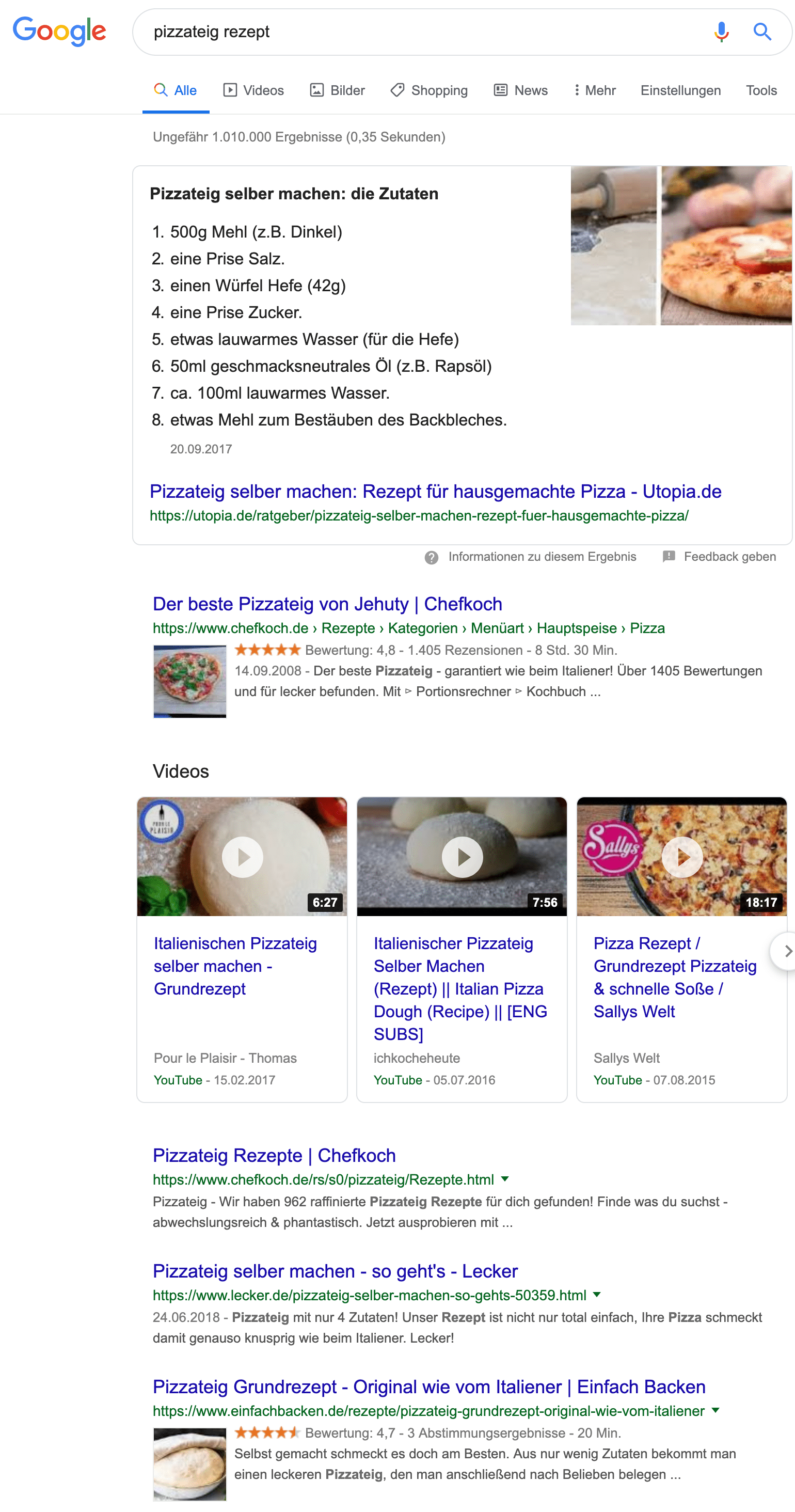Suchintent Google Pizza Beispiel