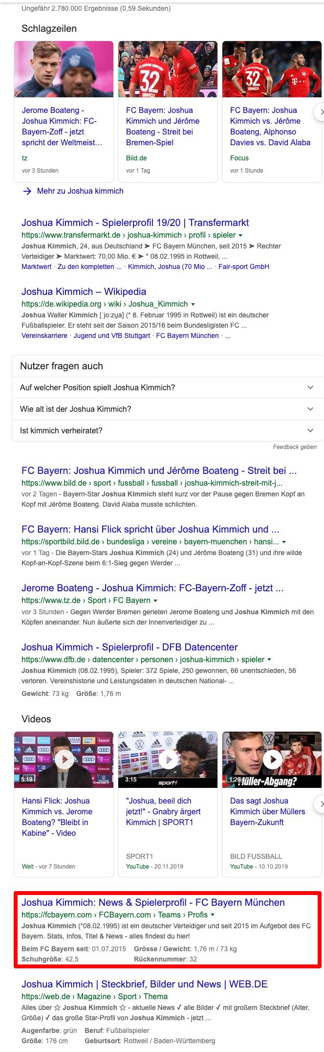 Joshua Kimmich organisch bei Google