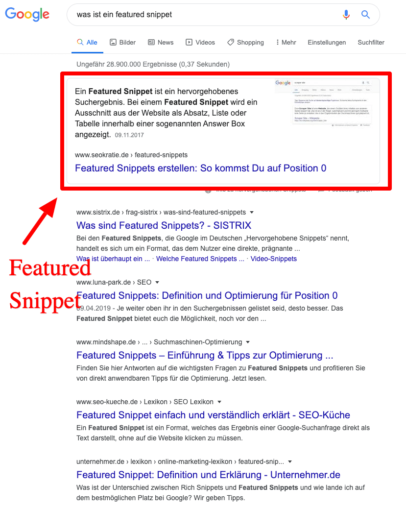 Featured Snippet organische Rankings